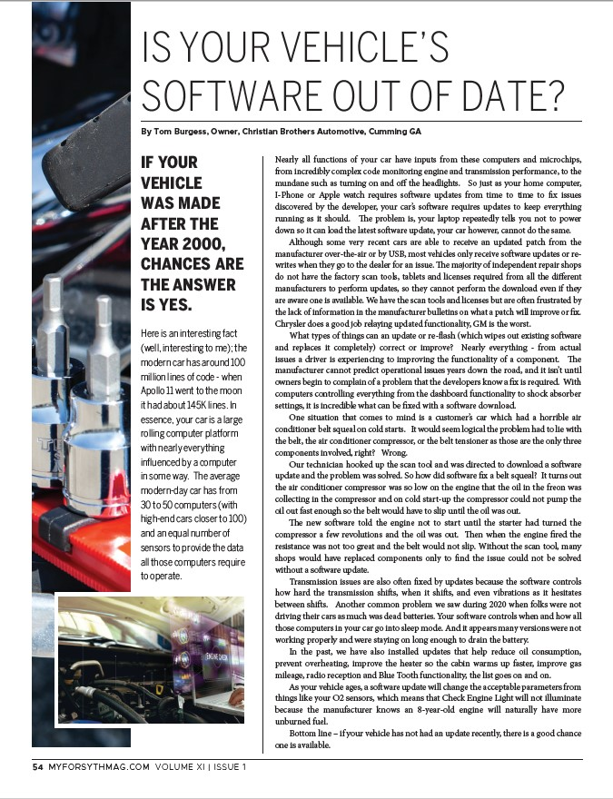IS YOUR VEHICLE'S SOFTWARE OUT OF DATE?